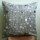 """Diamond Strings - Grey 20""""x20"""" Silk Pillows Covers For Couch"""