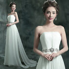 L379 New White Long Formal Wedding Prom Party Bridesmaid Evening Ball Gown Dress