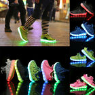 Unisex 7 LED Light LaceUp Luminous Sportswear Sneaker Casual Shoes For Kids Gift