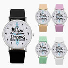 Women Girl Casual Watch Cute Words Classical Dial Leather Analog Quartz Watch image