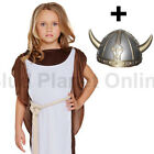 7-12 CHILDRENS KIDS GIRLS VIKING WARRIOR FANCY DRESS COSTUME & HELMET BOOK WEEK
