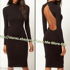 XS-XXL High Neck buttons back Cut Out OPen Back Midi Casual club wear dress BLK