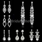 Bridal Wedding Sparkling Rhinestone Crystal Flower Teardrop Dangle Drop Earrings