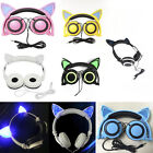 Brookstone Cat Ear Gaming Mic Headphones LED Music Lights Rechargeable for PC