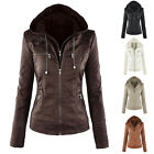 Womens Fashion PU Leather Hooded ❀ Lapel Pockets Top Blouse Jacket Overcoat Coat
