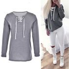 Womens Long Sleeve Lace Hoodies Sweater Casual Pullover Jumper Swearshirt Top FO