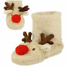 New Ladies Cream Faux Fur Reindeer Novelty Boot Slippers Size 3-4 5-6 7-8