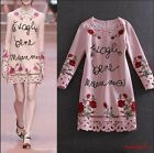 Womens Fashion Runway Autumn Modern Vintage embroidery Sweet enchanting dress
