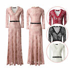 Formal Women Long Sleeve Bodycon V-Neck Hollow Out Lace Evening Prom Party Dress