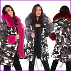 Camouflage Parka Coat Camo Faux Fur Hood Collar Jacket Womens Ladies Size ❤