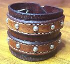 Hand made leather bracelet cuff stamped custom two buckles