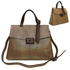 WOMEN'S HANDBAG SAMANTHA GOLD SNAKE TOTE SHOULDER CROSS BAG REAL COWHIDE LEATHER