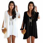 Casual Women Long Sleeve Shirt Blouse Loose Evening Party Cocktail Mini Dress