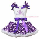 My 1ST Birthday White Cotton Top Purple White Polka Dot Girls Skirt Outfit 1-8Y
