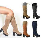 Womens Lace Up Combat Leather Chunky Heel Knee High Boots W/ Knitted Calf