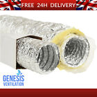 """HYDROPONIC Acoustic Insulated & Foil Ventilation Ducting 4"""" 5"""" 6"""" 8"""" 12"""" *5/10M*"""