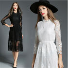 Women Long Sleeve Round Neck Lace Hollow Casual Enening Party A-line Solid Dress