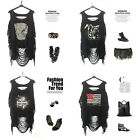 Fashion Women Punk Skull Open Back Tassel Tank Top Vest T-shirts Black Hot fo