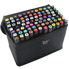 80 Colors Touch Five Alcohol Graphic Marker Pens set + Pouch +3 Fress Gifts USA