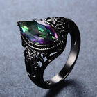 Mystic Marquise Cut Rainbow Sapphire Party Ring 10KT Black Gold Filled Sz 5-11