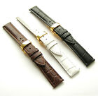 Black Brown White Genuine Leather Watch Strap CROCO w Gold Butterfly Clasp 18mm