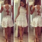 Women Lace Sleeveless Backless Ball Gown Evening Party Cocktail Mini Dress CYBD