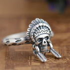 990 Sterling Solid Thai Pure Silver Ring  Skull Men's Size 6.5 7 7.5 8 8.5 Women