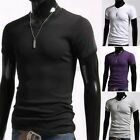 T-shirt V-Neck Men Short Sleeve Muscle Tee Basic Casual Slim Fit Cotton Solid