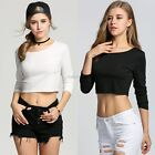 Women Cotton Blouses Long Sleeve Plus Size T-shirt Tight-fitting Cropped CYBD