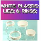 White Plastic RINGS and LIDS for Mason Jars, Regular & Wide Mouth sizes.