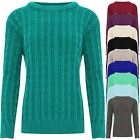 Ladies Women Cable Knit Stunning Jumper Crew Neck Long Sleeves Warm Sweater Top