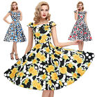 Vintage Style 50s 60s Retro Pinup rock n roll Cocktail Evening Party Swing Dress