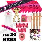 24 COMPLETE KIT - HEN PARTY BALLOONS SASH TIARA VEIL INFLATABLE MAN WILLY STRAWS
