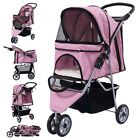 Three Wheel Pet Stroller Cart Cat Dog Foldable Carrier Travel Jogger 5 Color