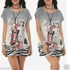 756 Bohemian Printed Boat Neck Short Sleeve Tunic Grey Top One Size Regular