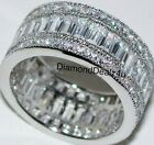 925 Sterling Silver 10mm Wide Diamond Baguette Anniversary Band Fashion Ring