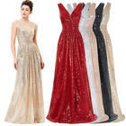 LADIES LONG WOMENS V-Neck Shining MAXI DRESS Bridesmaids COIL EVENING DRESSES ❤