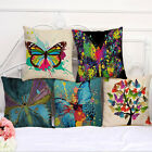 Colorful Butterfly Linen Cushion Cover Throw Waist Pillow Case Sofa Home Décor