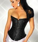 Satin Black Sparkly Crystals Corset Top  Sizes S-8 to 6XL-24