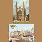 2x Old Victorian Postcard Broad Street Oxford Cambridge Kings College University
