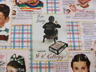 KELLOGGS KIDS VINTAGE CEREAL BOX BIOGRAPHIES on COTTON FABRIC Priced By The YARD