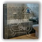 Falling Bathroom Bath Tub Engraved Square Acrylic Mirrored Door Sign