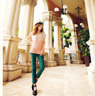 Women Tops Chiffon Cap Sleeve Scoop Round Neck Loose Shirt Blouse Pullover S M L