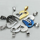 2pcs/set Heart Love Stainless Steel Couple Lovers Pendant Black Leather Necklace