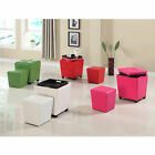 Roundhill 2-in-1 Faux Leather Upholstered Wooden Storage Ottoman with Stool