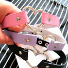 Punk Harajuku  CHIC Rivet Women Heart Collar Necklace Choker Leather O-Ring