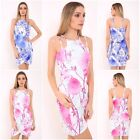NEW LADIES FLORAL PRINT WRAP OVER LOOK DRESS WOMEN BODYCON LONG SLEEVE TUNIC TOP