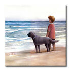 Boy with His Dog on the Beach Art Tile Print on Ceramic with Hook or Felt Feet