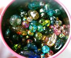 1/2 POUND, CANISTER OF METALLIC SPLASH BEADS- Assorted Glass Beads- Bead Lot~