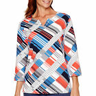 Alfred Dunner Cape Hatteras Geometric Print Top Size PL Msrp $58.00